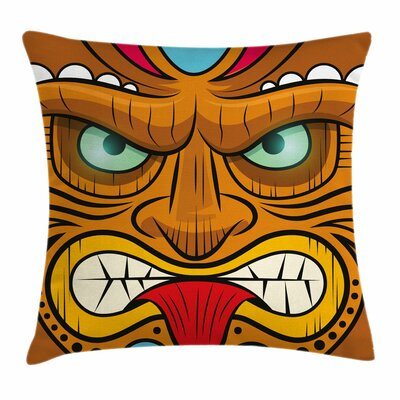 Tiki Bar Decor Angry Face Totem Square Pillow Cover Size: 18 x 18