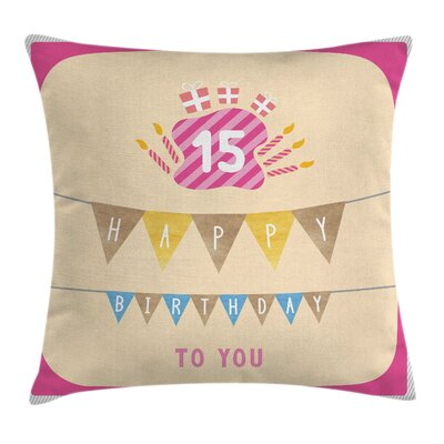 Colorful Flags Gifts Candles Square Pillow Cover Size: 16 x 16