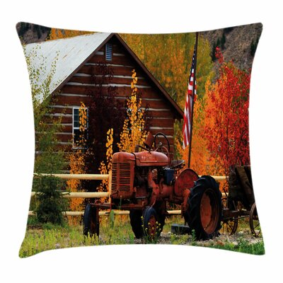 Fall Decor Rustic Cabin Tractor Square Pillow Cover Size: 16 x 16