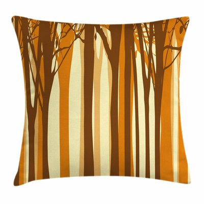 Fall Decor Autumn Forest Trees Square Pillow Cover Size: 24 x 24