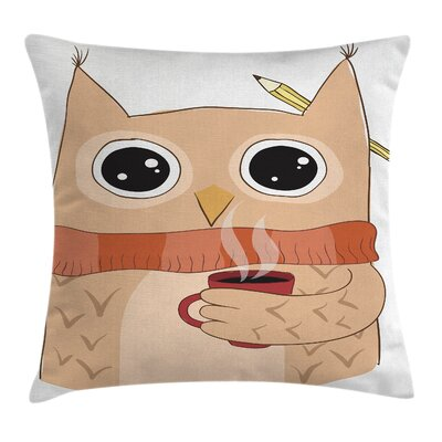 Owl Cute Animal Coffee Student Pillow Cover Size: 18 x 18