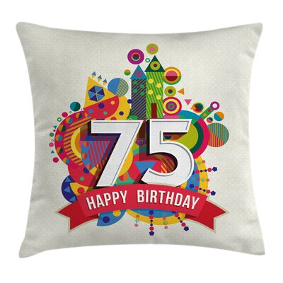 Festive Colorful Birthday Label Square Pillow Cover Size: 18 x 18