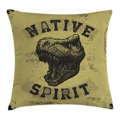 Dinosaur Roaring Portrait Wild Square Pillow Cover Size: 18 x 18