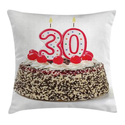 Birthday Cake Cherries Candles Pillow Cover Size: 18 x 18