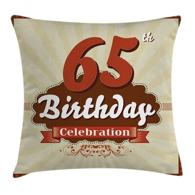 Retro Celebration Card Inspired Square Pillow Cover Size: 16 x 16
