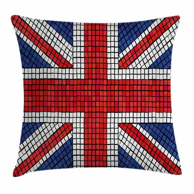 Union Jack Mosaic British Flag Square Pillow Cover Size: 18 x 18