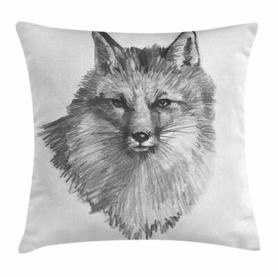 Fox Sketchy Portrait Predator Square Pillow Cover Size: 18 x 18