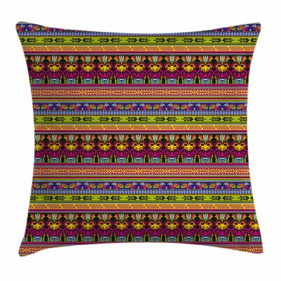 Primitive Decor Aztec Borders Square Pillow Cover Size: 18 x 18