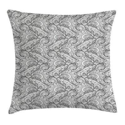 Indian Paisley Sea Waves Floral Pillow Cover Size: 18 x 18