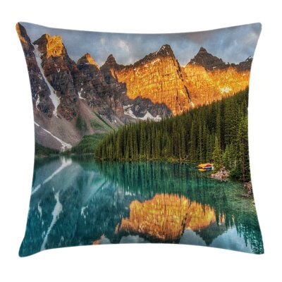 Forest Moraine Lake Canadian Pillow Cover Size: 18 x 18