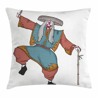 Kabuki Mask Asian Costume Hat Square Pillow Cover Size: 18 x 18