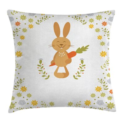 Funny Smiling Rabbit Summer Square Pillow Cover Size: 24 x 24