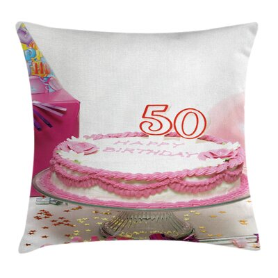Birthday Cake Party Hat Gift Pillow Cover Size: 24 x 24