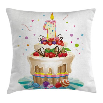 Birthday Party Cake for Baby Square Pillow Cover Size: 18 x 18