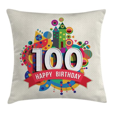 Colorful Digital Print Shapes Square Pillow Cover Size: 18