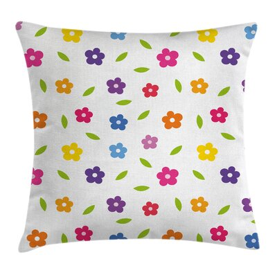 Colorful Daisies Leaves Meadow Square Pillow Cover Size: 18 x 18