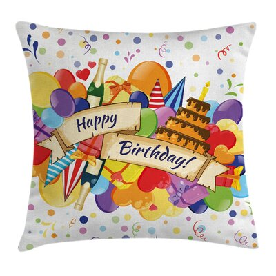 Drinks Cake Balloons Square Pillow Cover Size: 18 x 18