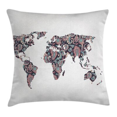 Eastern Map with Paisley Leaves Pillow Cover Size: 18