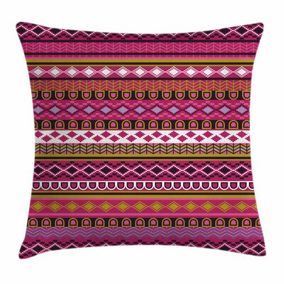 African Motifs Folk Border Square Pillow Cover Size: 16 x 16