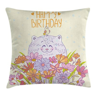Birthday Happy Cat Bird Flowers Square Pillow Cover Size: 16 x 16
