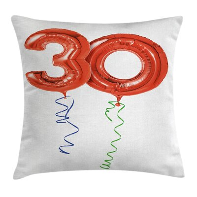 Festive Balloons Ribbons Pillow Cover Size: 16 x 16