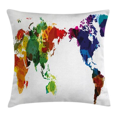 Abstract Wold Map Pillow Cover Size: 16 x 16