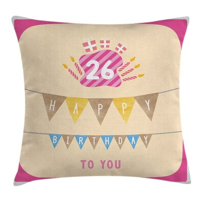 Flag Best Wishes New Age Square Pillow Cover Size: 18 x 18