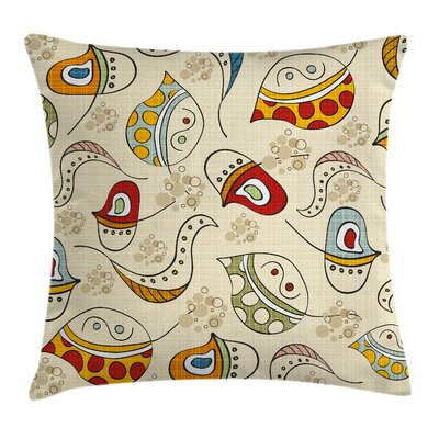 Colorful Trippy Leaf Figures Pillow Cover Size: 16 x 16