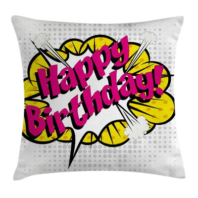 Retro Pop Art Greeting Dots Square Pillow Cover Size: 16 x 16