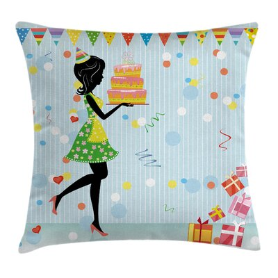 Fun Mother with Cake Cartoon Square Pillow Cover Size: 24 x 24