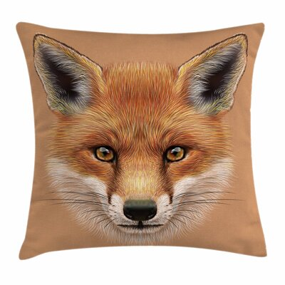 Fox Cute Fluffy Face Forest Square Pillow Cover Size: 18 x 18