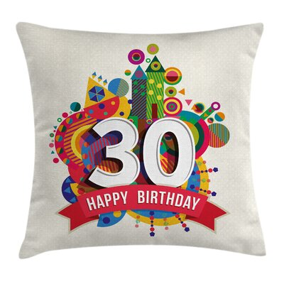 Funky Birthday Theme Vibrant Pillow Cover Size: 16 x 16