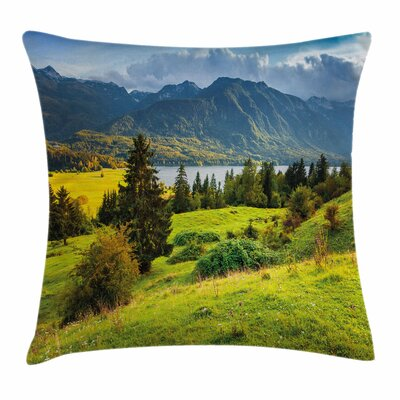 Landscape Summer Morning Lake Square Pillow Cover Size: 16 x 16