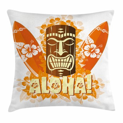 Tiki Bar Decor Hibiscus Flora Square Pillow Cover Size: 16 x 16