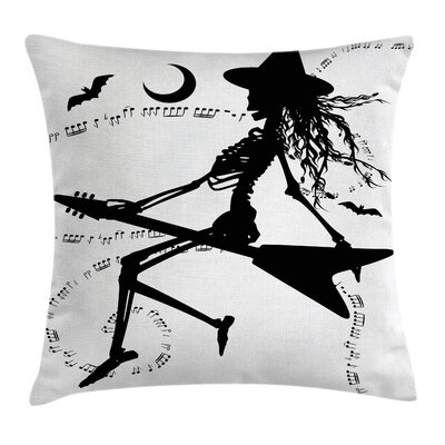 Music Decor Witch on Guitar Pillow Cover Size: 16 x 16