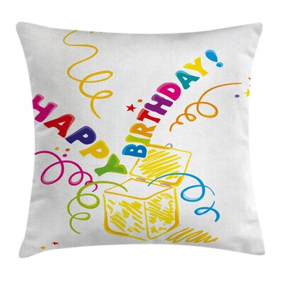 Birthday Surprise in Box Doodle Square Pillow Cover Size: 20 x 20