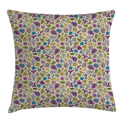 Cartoon Ocean Creatures Shells Pillow Cover Size: 20 x 20