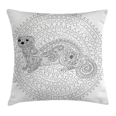 Animal Squirrel Geometric Cute Pillow Cover Size: 24 x 24