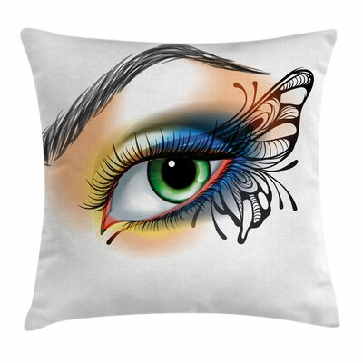 Eye Fantasy Woman Make Up Wing Square Pillow Cover Size: 24 x 24