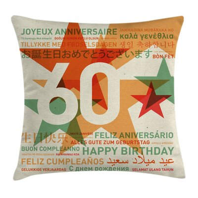Abstract Birthday Party Cities Square Pillow Cover Size: 24 x 24