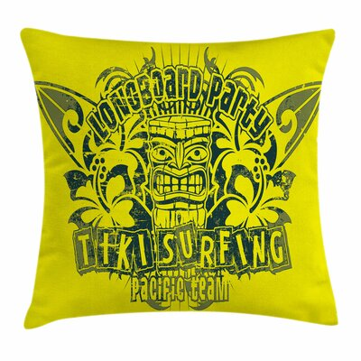 Tiki Bar Decor Surf Team Party Square Pillow Cover Size: 24 x 24