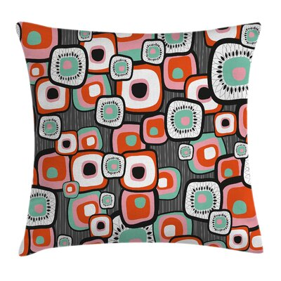 Vintage Funk Lava Flowers Forms Pillow Cover Size: 24 x 24