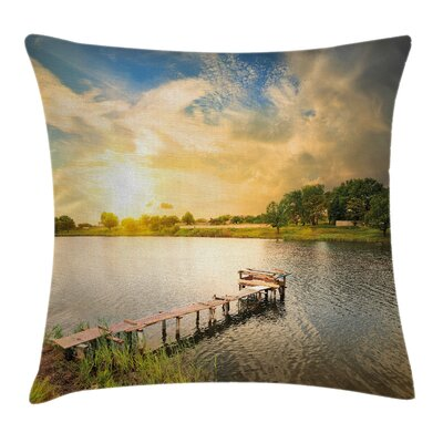 Outdoor Wood Deck Lake Foliage Pillow Cover Size: 24 x 24