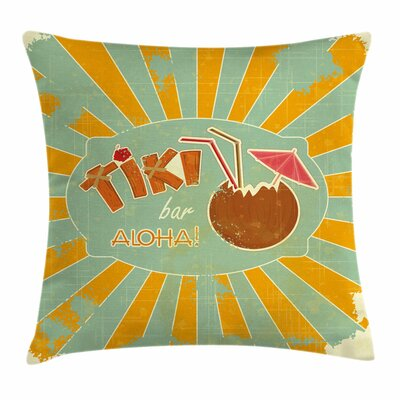 Tiki Bar Decor Aloha Fun Party Square Pillow Cover Size: 18 x 18