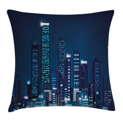Urban Night View of Metropolis Pillow Cover Size: 16 x 16