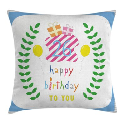 Cute Striped Present Square Pillow Cover Size: 16 x 16