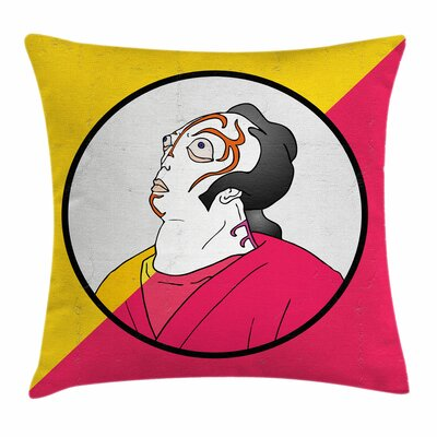 Kabuki Mask Artist Portrait Square Pillow Cover Size: 20 x 20