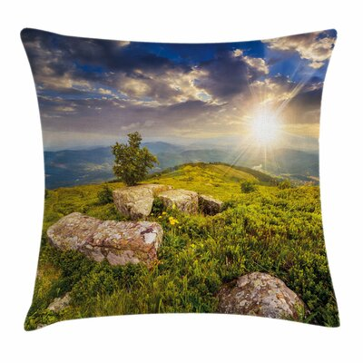 Mountain Three Behind Boulders Square Pillow Cover Size: 18 x 18