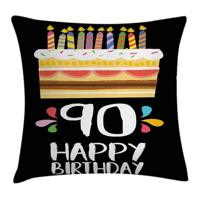 Birthday Colorful Party Set Up Square Pillow Cover Size: 16