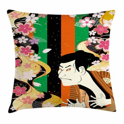 Kabuki Mask Actor Sakura Blooms Square Pillow Cover Size: 18 x 18